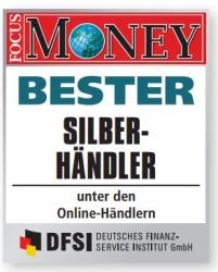 Silber kaufen: Anlagegold24 laut Focus Money (8.2019) bester Edelmetallhändler