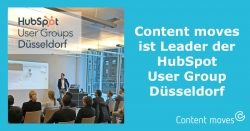 Content moves ist Leader der HubSpot User Group Düsseldorf