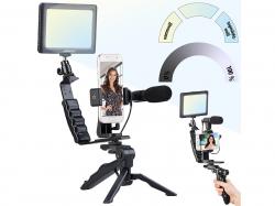 Somikon 4-teiliges Vlogging-Set mit LED-Leuchte